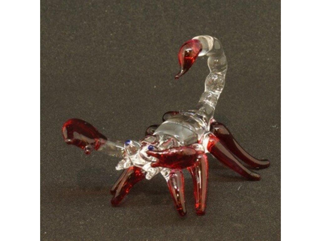 Soška sklo Scorpion červená