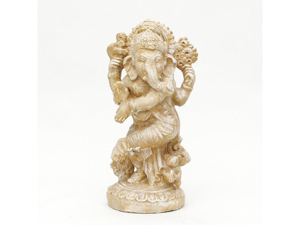 Soška kámen Ganesha 54 cm bílá