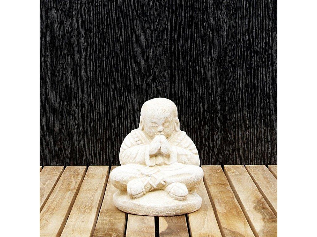 Soška kámen Monk Gassho 12 cm bílá