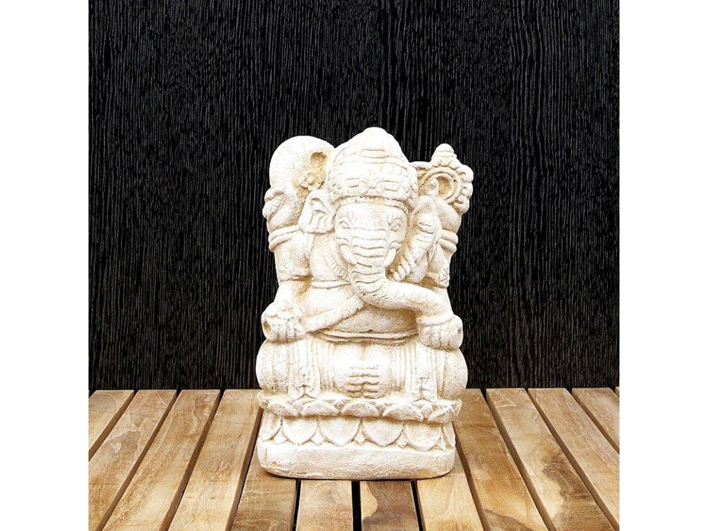 Soška kámen Ganesha 20 cm bílá