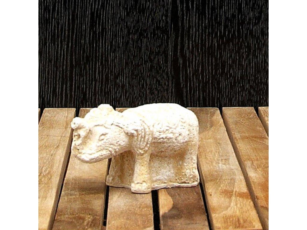 Soška kámen Slon 6 cm bílá