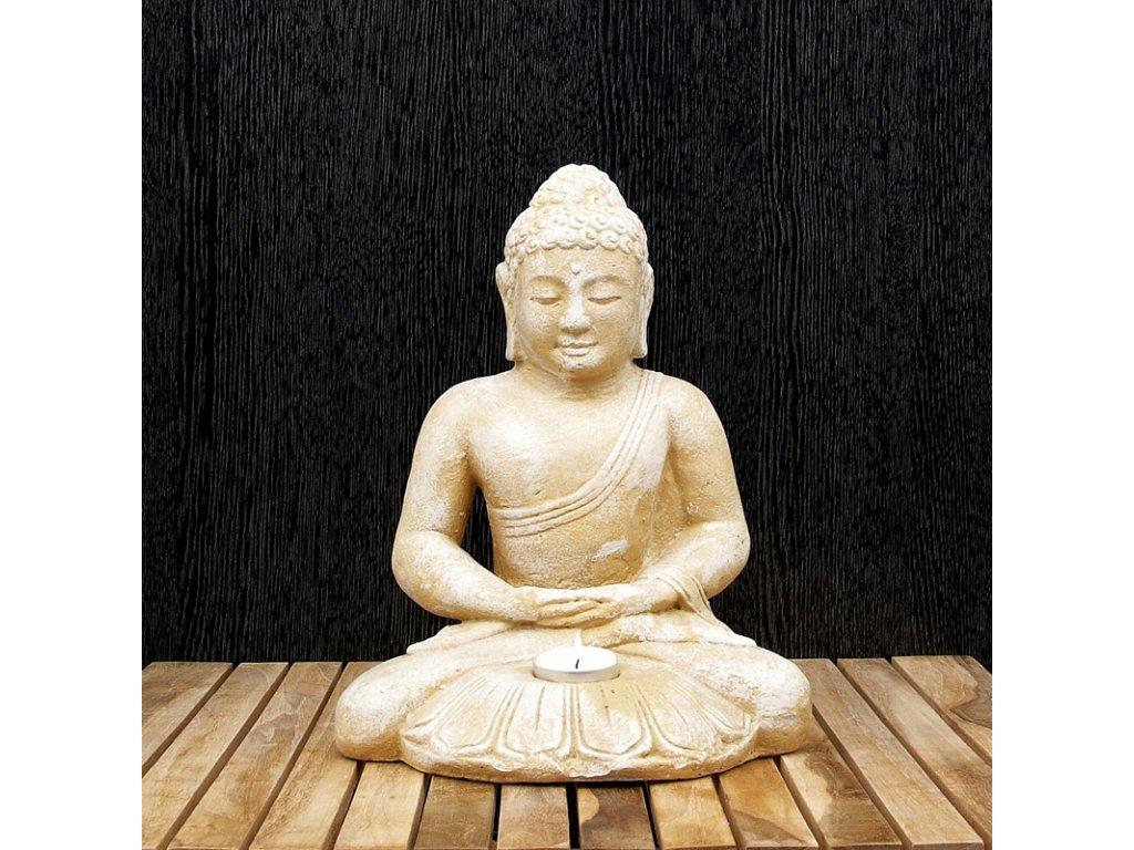 Soška kámen Buddha Meditation svícen 30 cm bílá