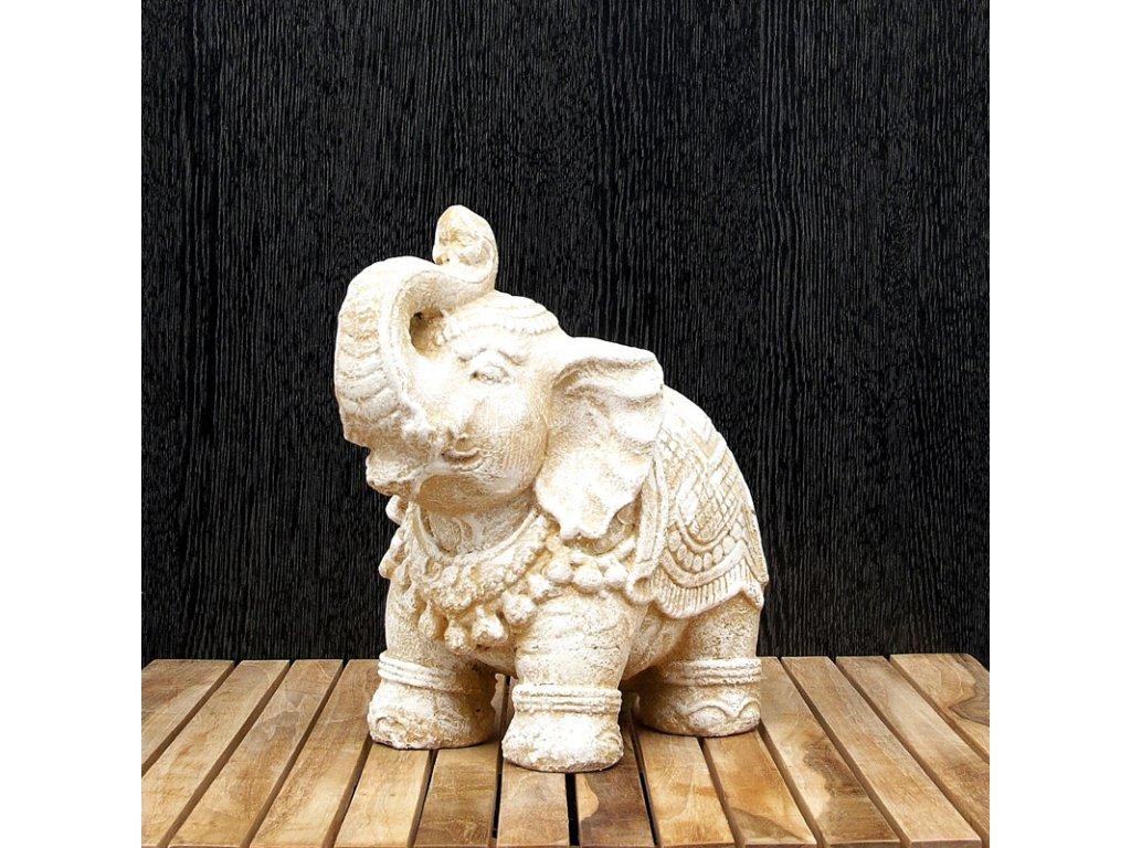 Soška kámen Slon 26 cm bílá