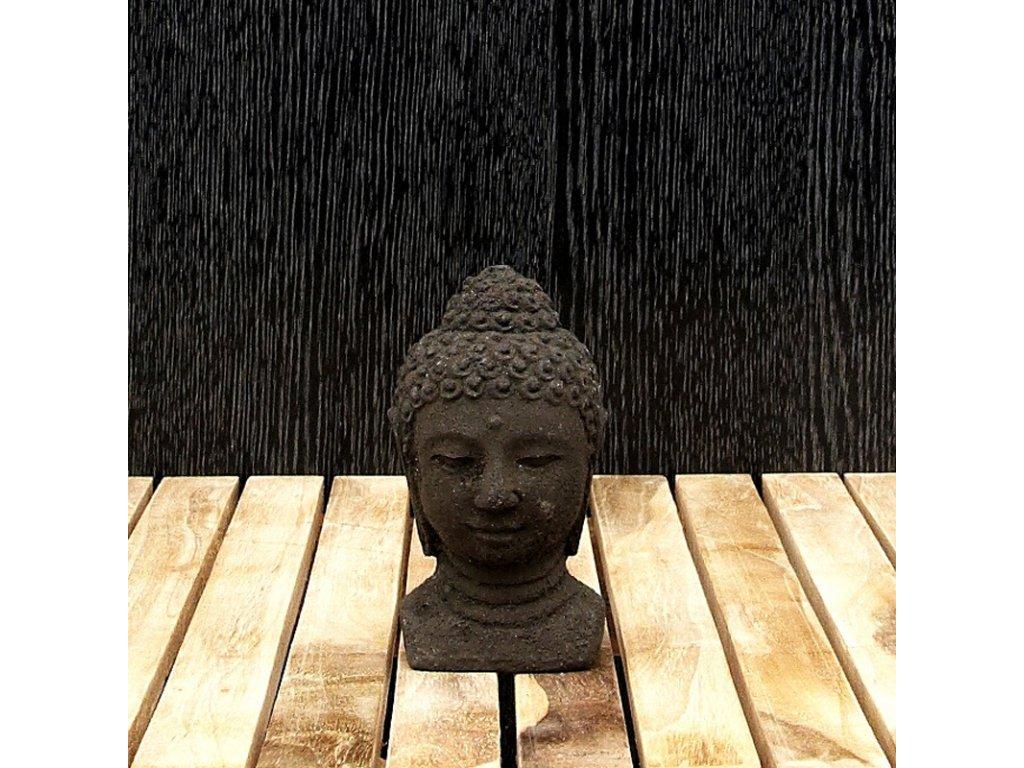 Soška kámen Buddha hlava 12 cm černá