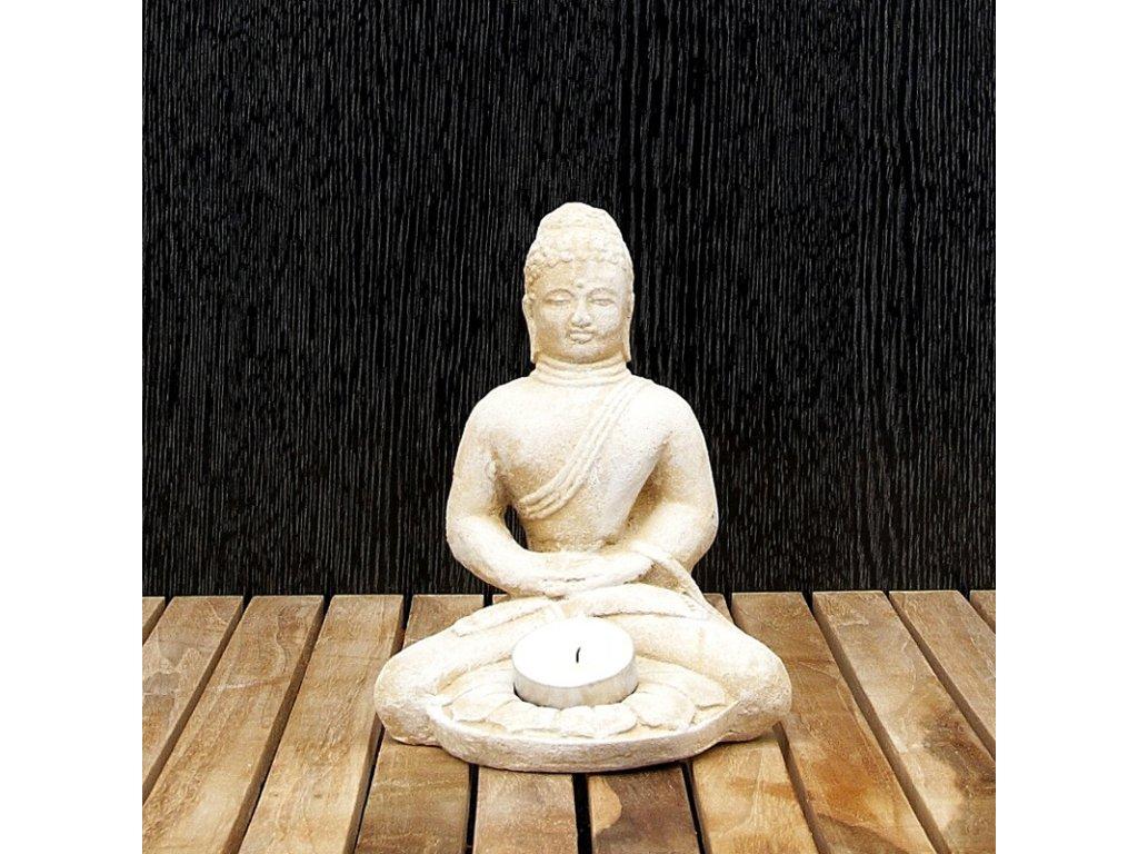 Soška kámen Buddha Meditation svícen 18 cm bílá