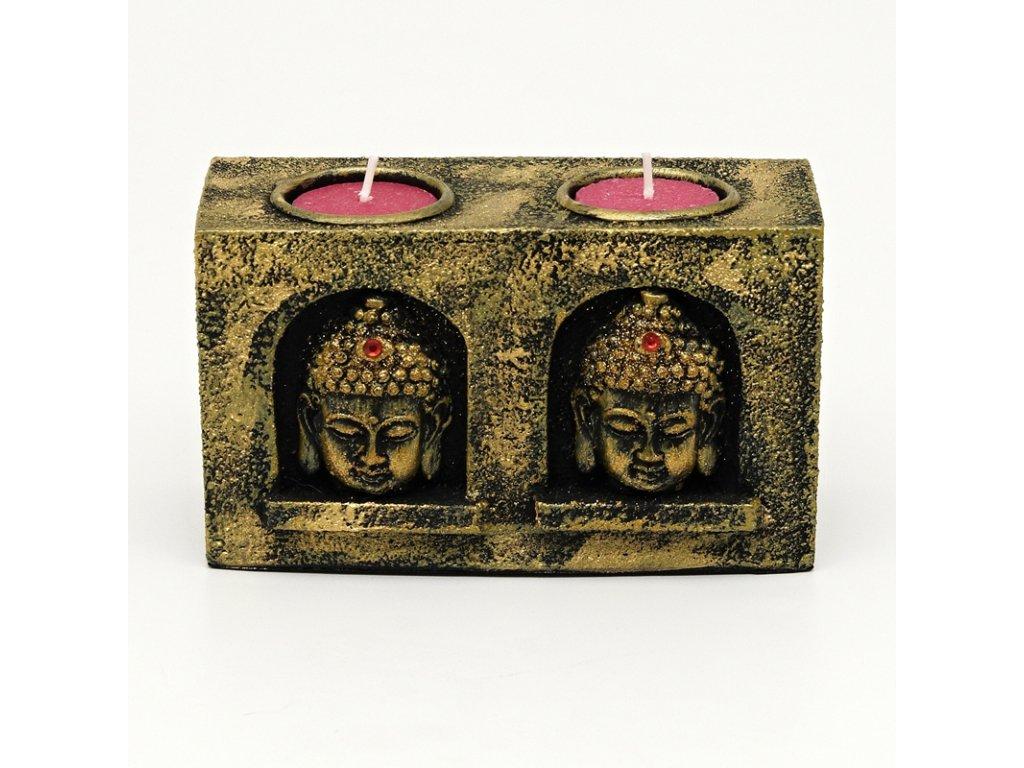 Svícen resin Buddha zlatý