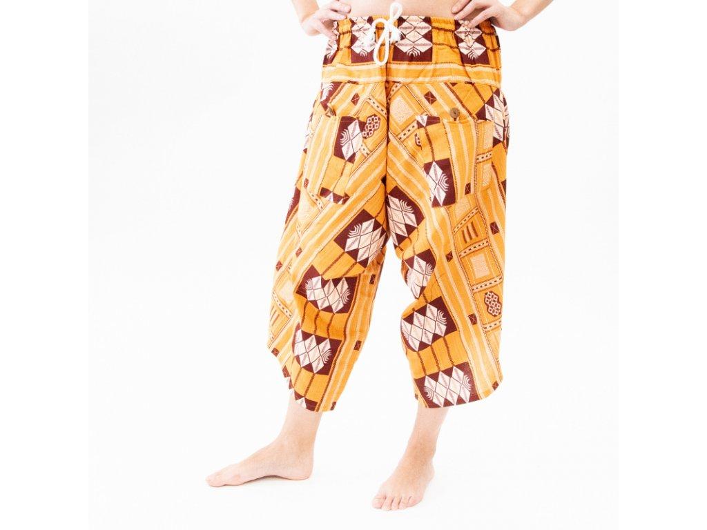 Kalhoty široké dámské Rochana žlutá