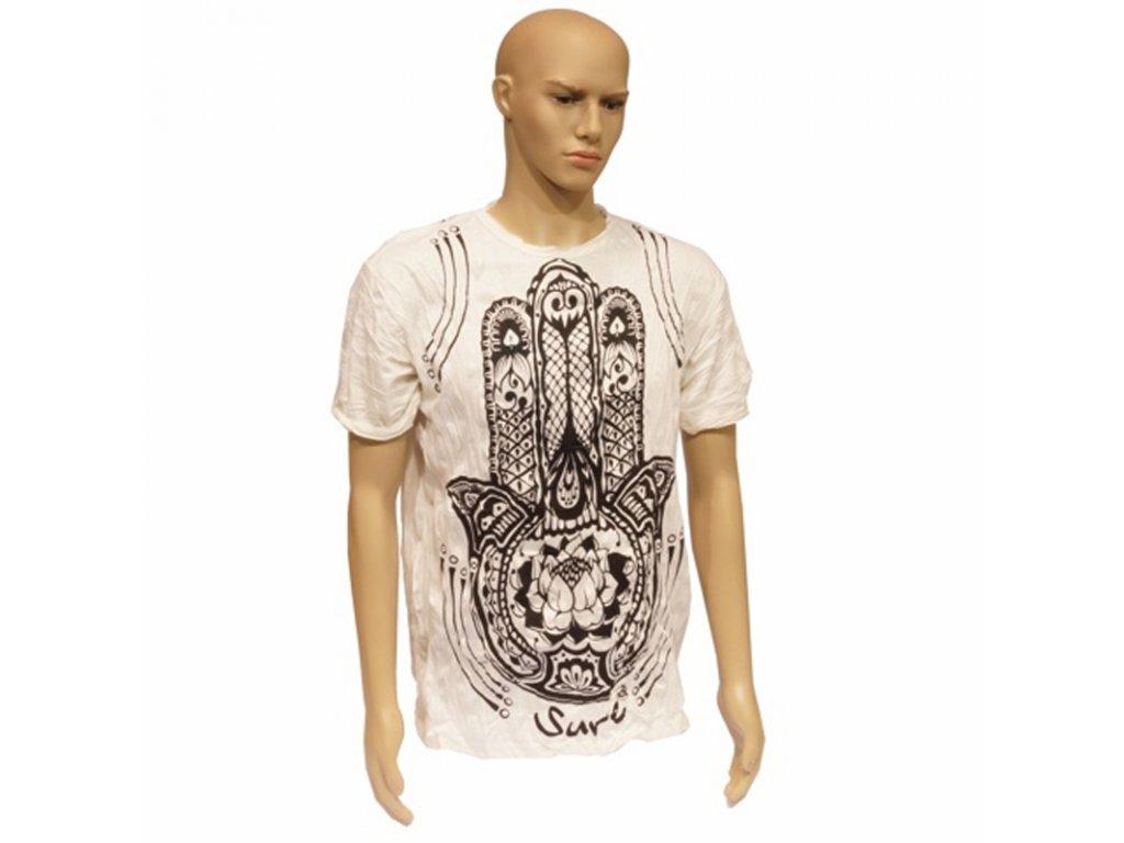 Tričko pánské SURE Hamsa Lotus L bílá