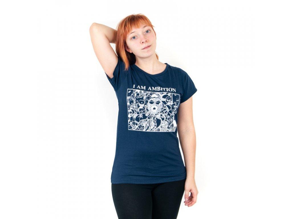 Tričko dámské AMBITION L modrá