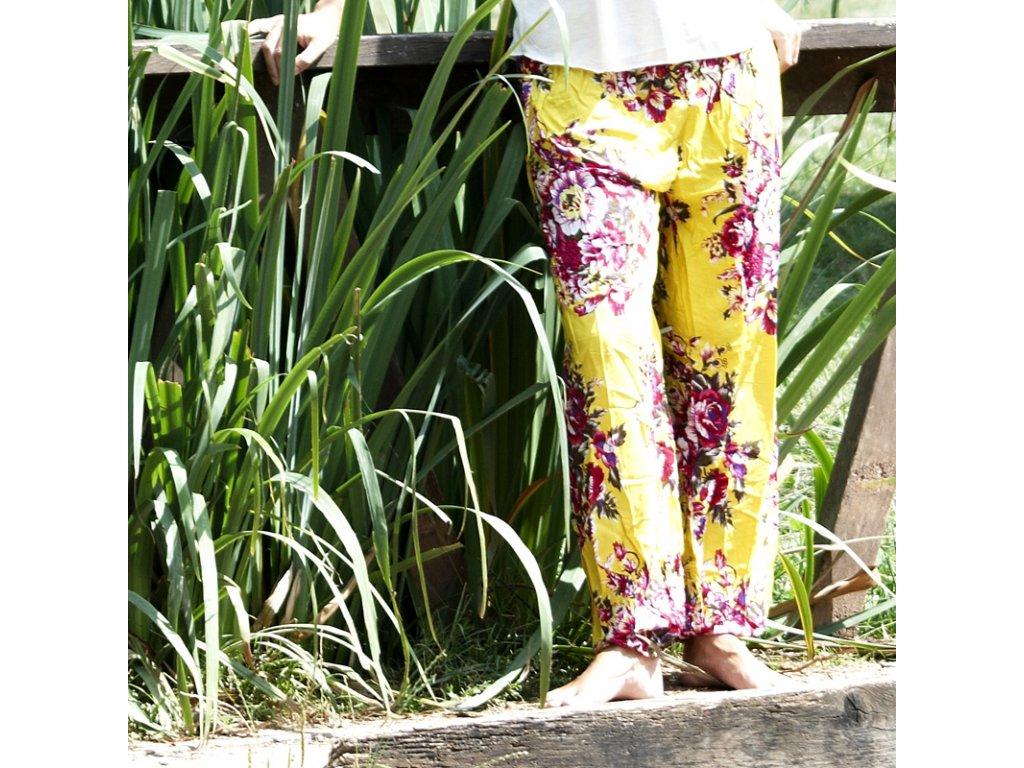 Kalhoty Yoga Květiny 01 žlutá