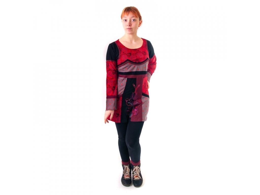 Šaty Joy 16 dlouhý rukáv M červenošedá