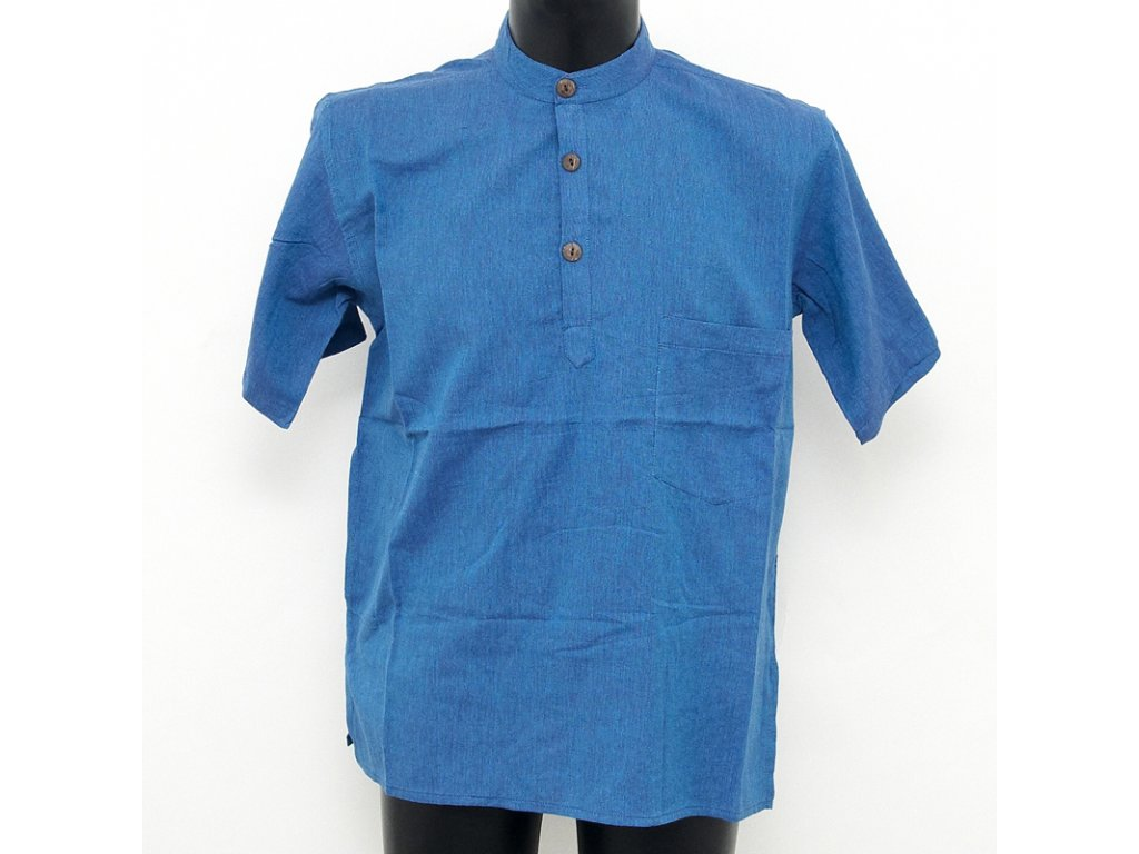 Košile kurta Marek krátký rukáv M modrá