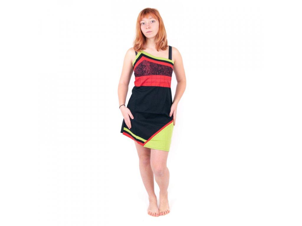 Šaty krátké Sanjana L Černá Červená Zelená