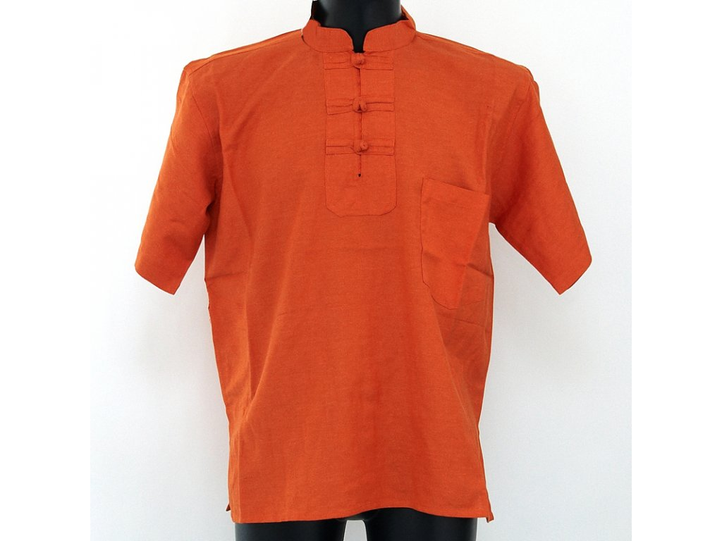 Košile kurta Teodor krátký rukáv M oranžová