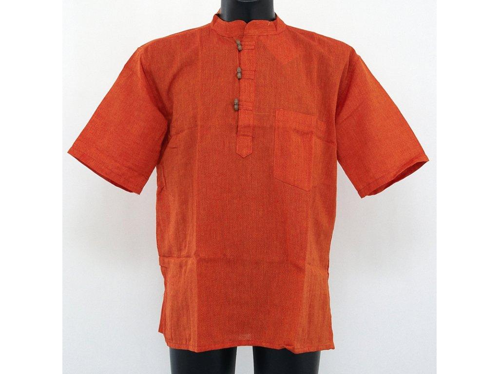 Košile kurta Matyáš krátký rukáv M oranžová