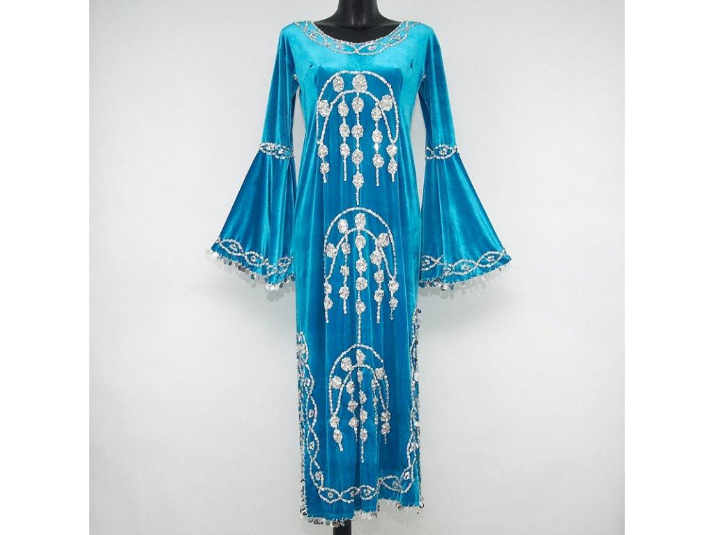 Šaty Egypt elastický samet L tyrkysová