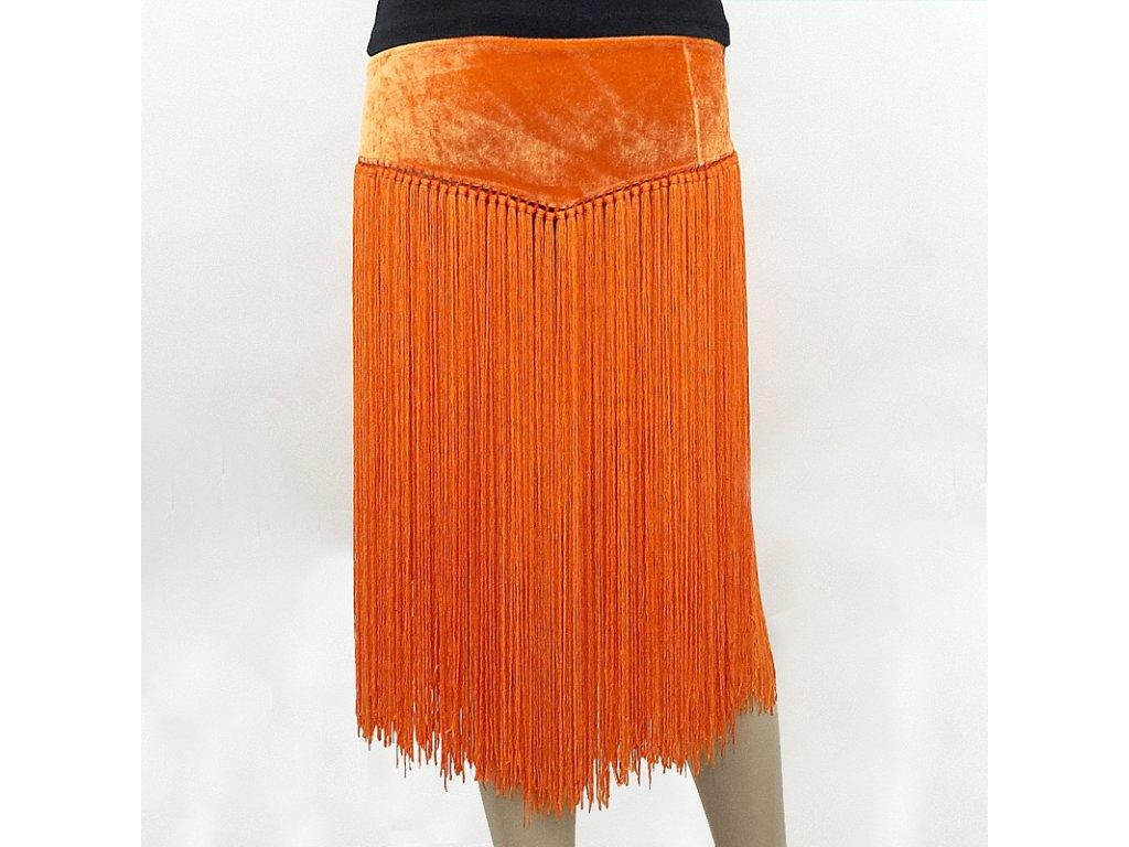 Sametový pás s třásněmi břišní tanec oranžová