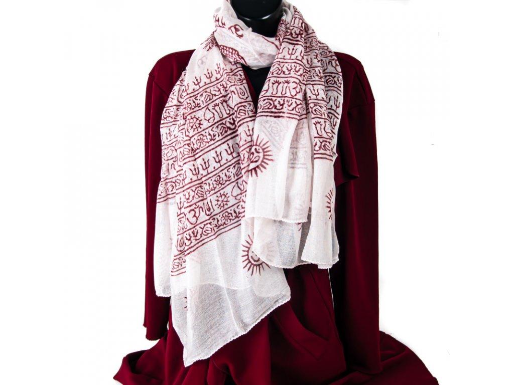 Šátek mantra bílý