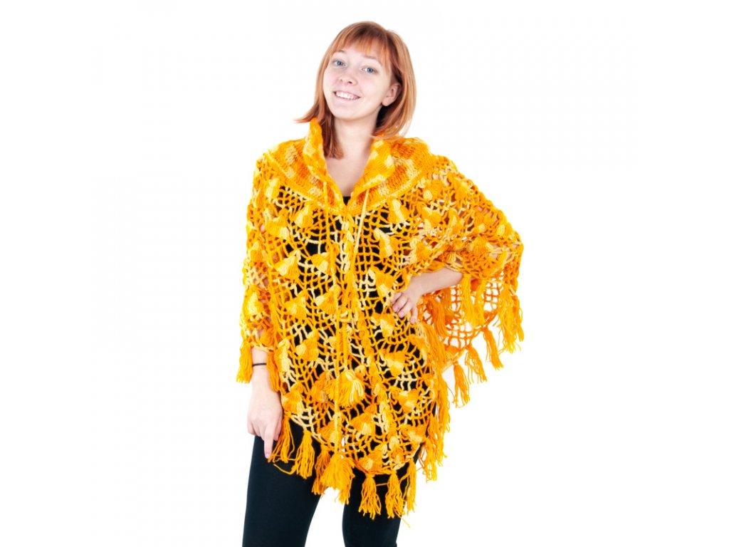 Pončo vlna melír oranžové