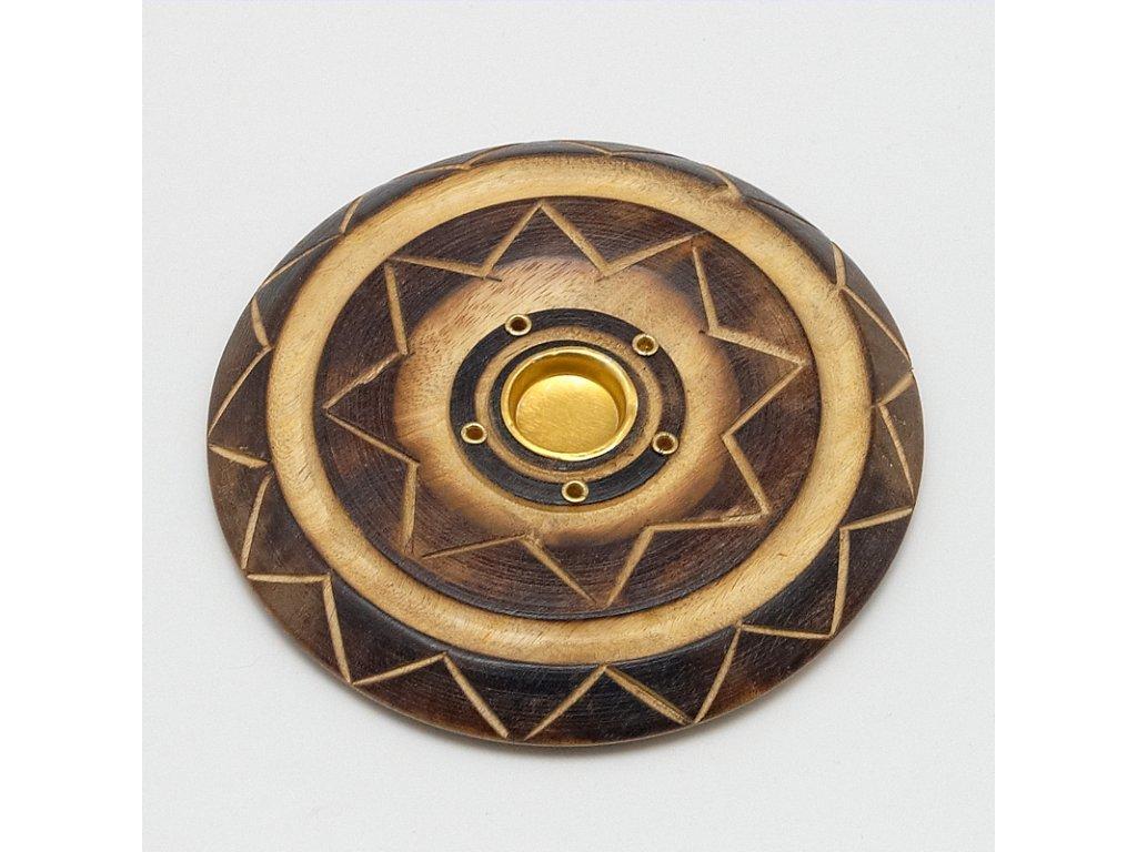 Stojánek na vonné tyčinky - talířek dřevo 10 cm antique