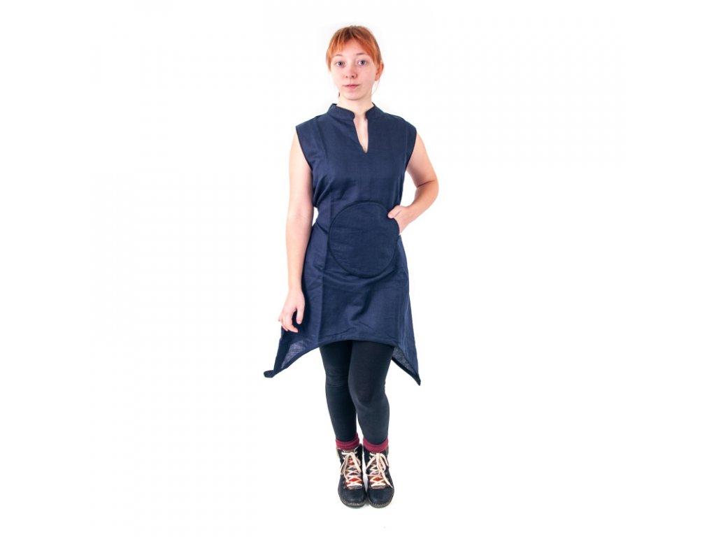 Šaty mini s kulatou kapsou
