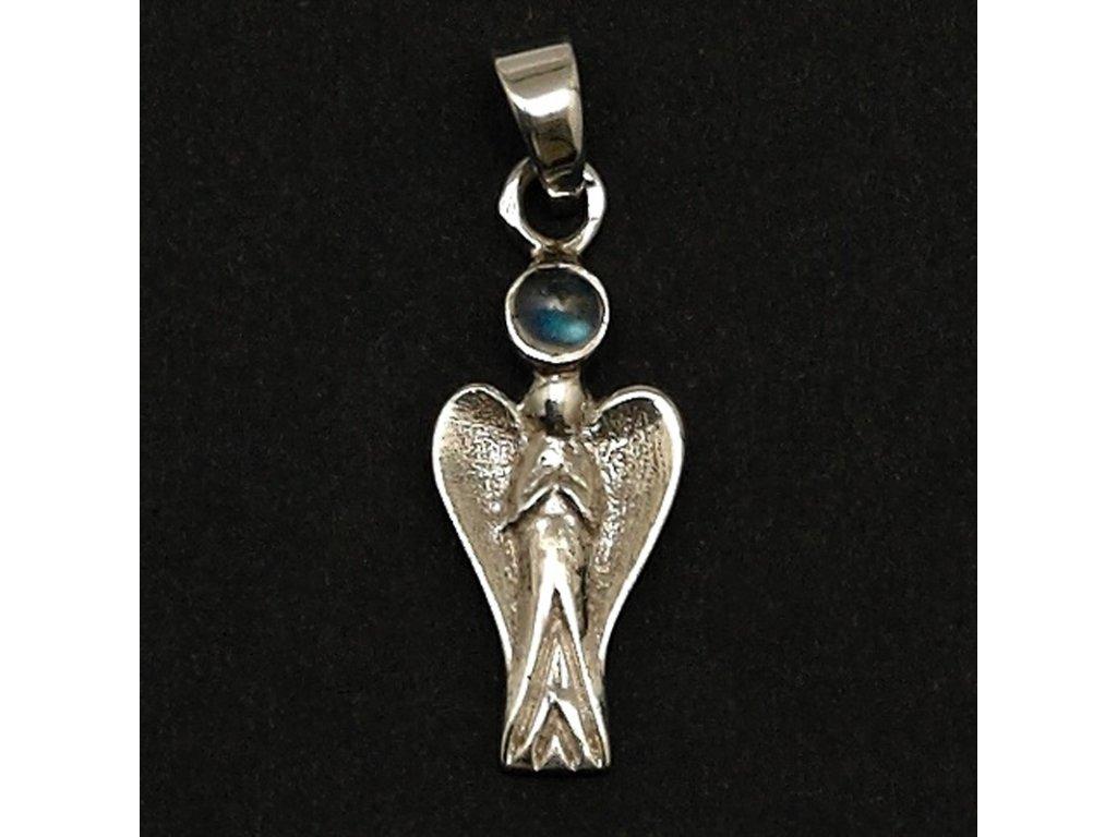 Přívěsek Anděl strážný s měsíčním kamenem stříbro