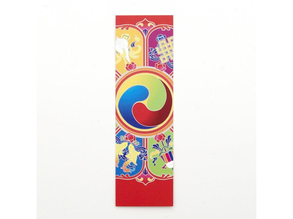 Záložka do knížky Buddhist Eight Auspicious Symbols of Happiness