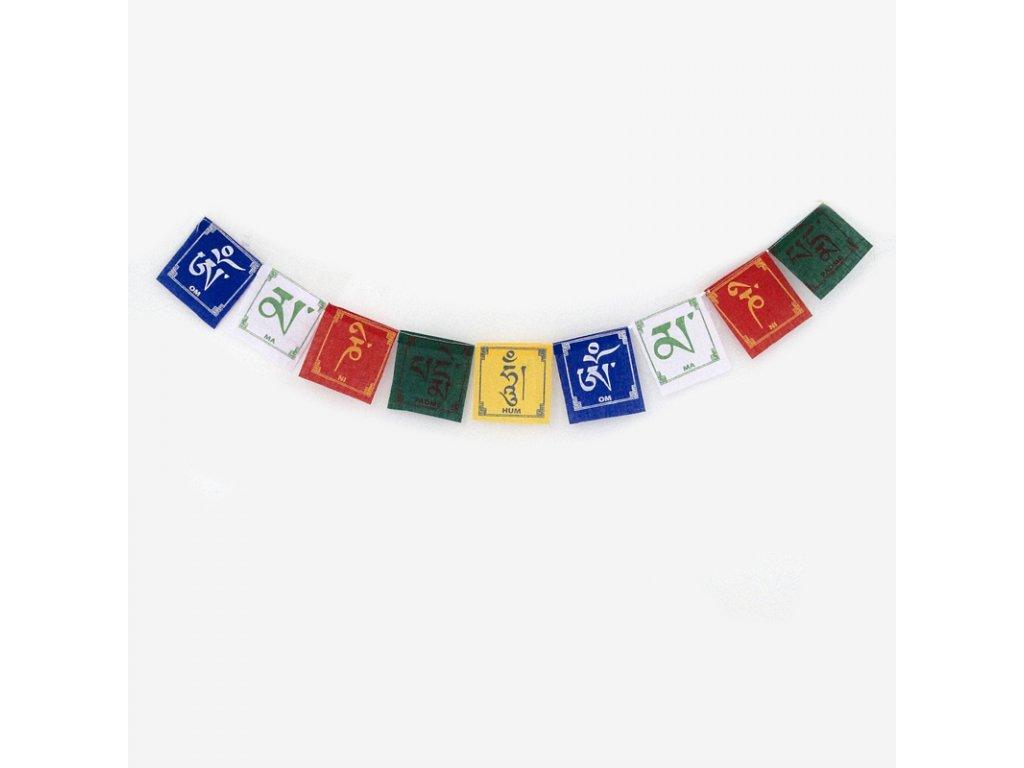 Tibetské modlitební vlaječky v1.3 Om Mane Pema 8 x 10 cm 10 ks