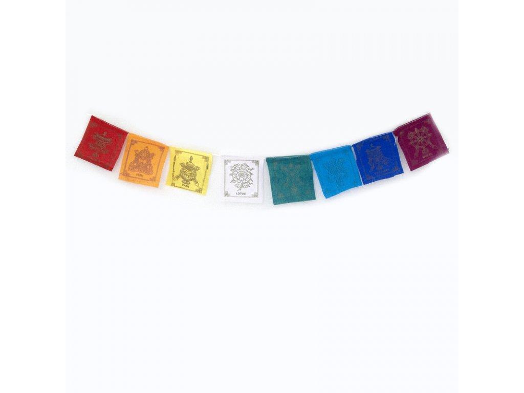 Tibetské modlitební vlaječky v1.2 Eight Auspicious 08 x 10 cm 8 ks