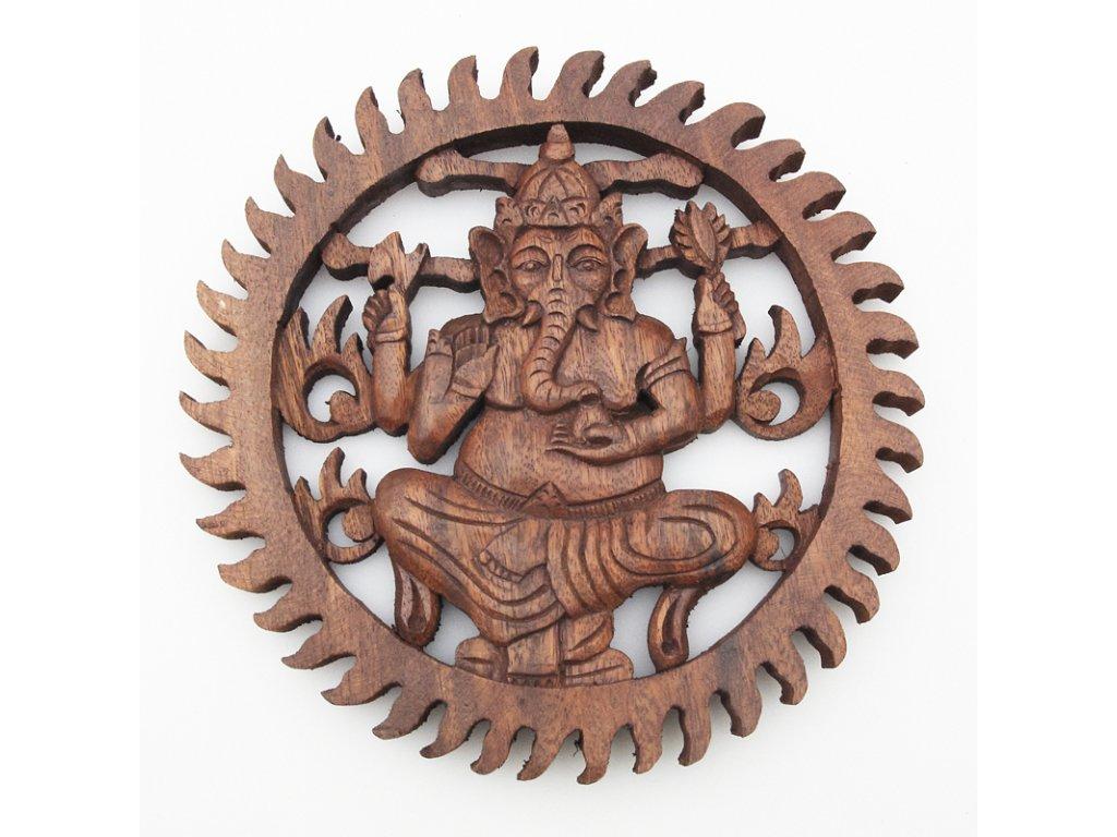 Závěsná dekorace dřevo Ganesha kruh 25 cm