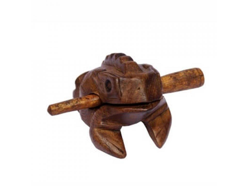 Hrací žába dřevo 8 cm světlá