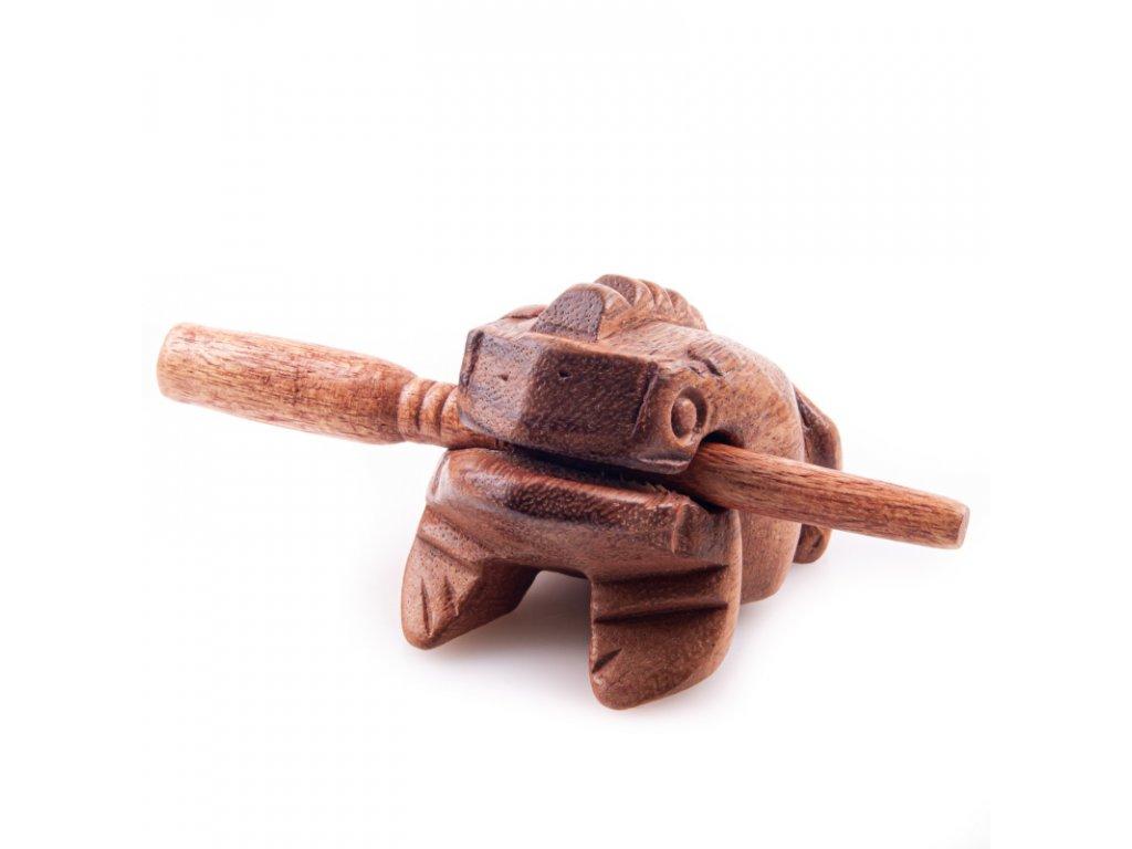 Hrací žába dřevo 10 cm světlá