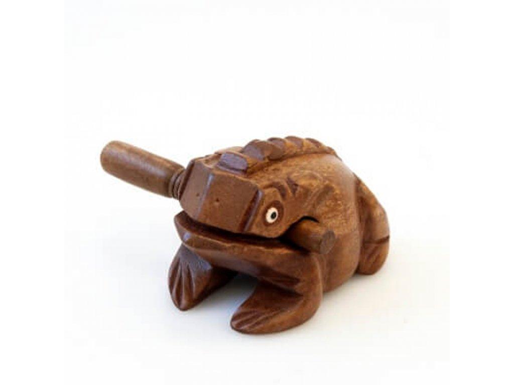 Hrací žába dřevo 14 cm světlá