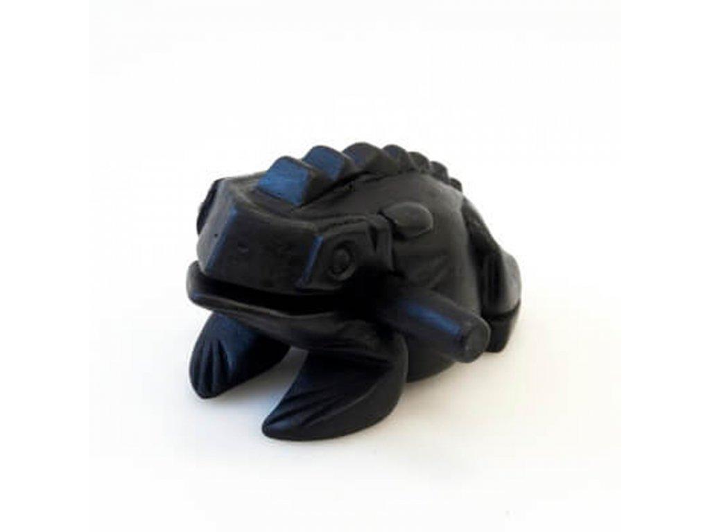 Hrací žába dřevo 16 cm tmavá