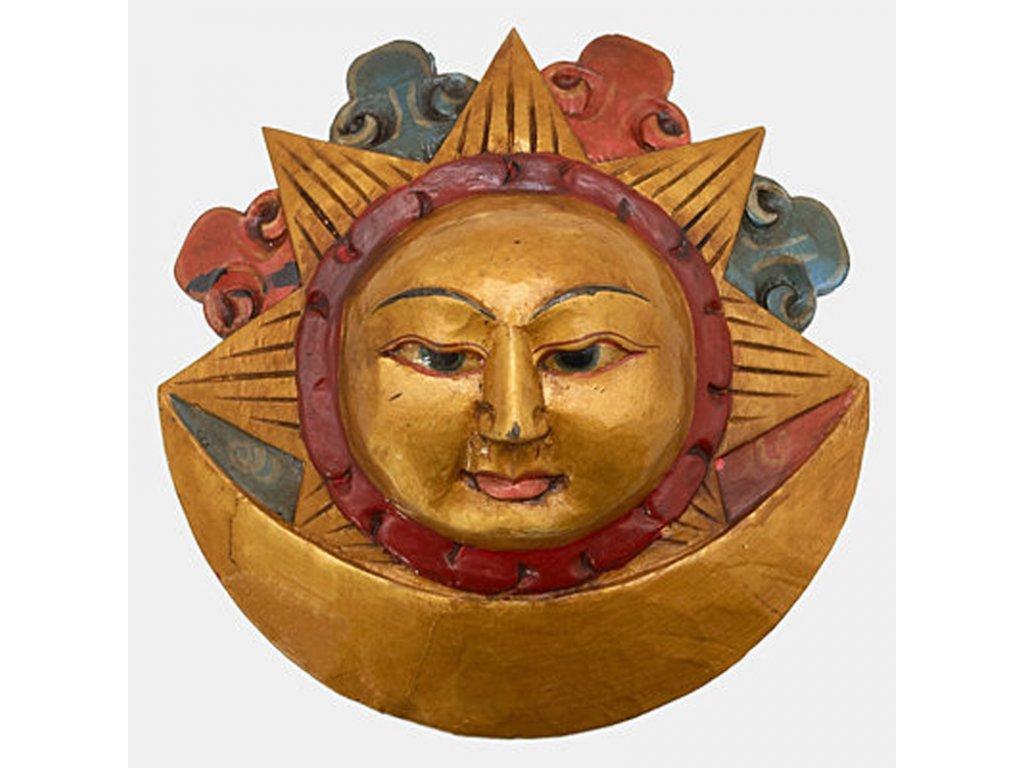 Maska dřevo Slunce a měsíc 20 cm
