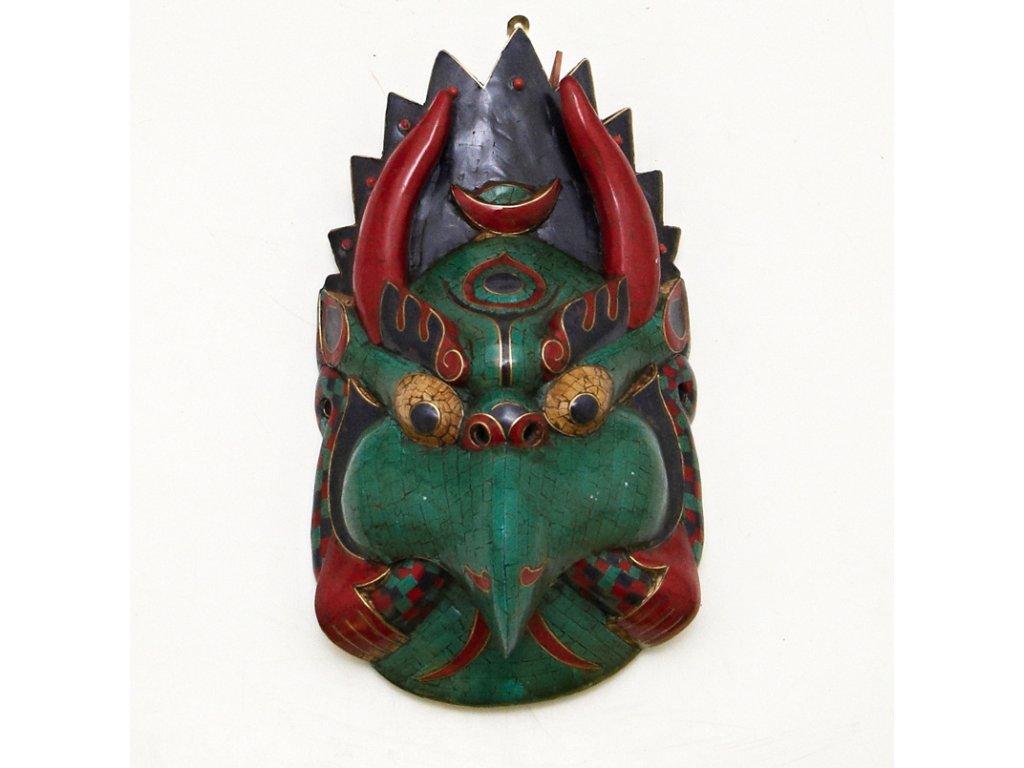 Maska dřevo mozaika Garuda 40 cm