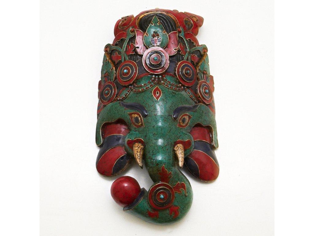 Maska dřevo mozaika Ganesh 48 cm
