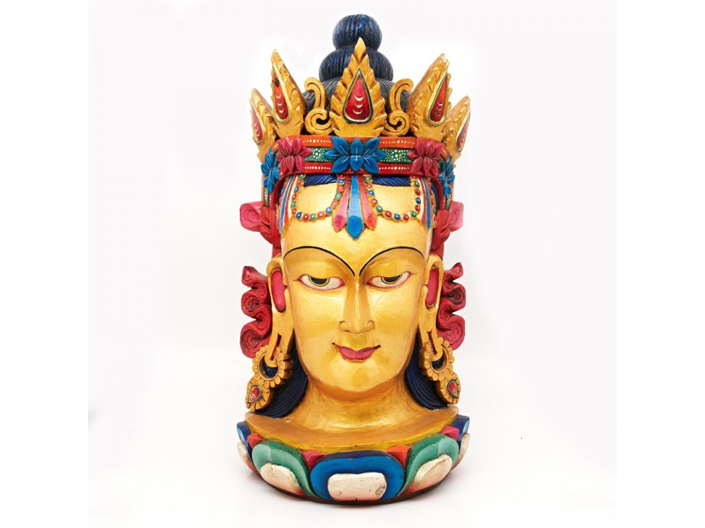 Socha dřevo hlava Buddha 90 cm