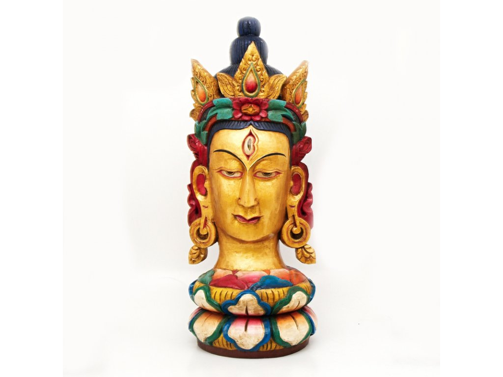 Socha dřevo hlava Buddha 101 cm