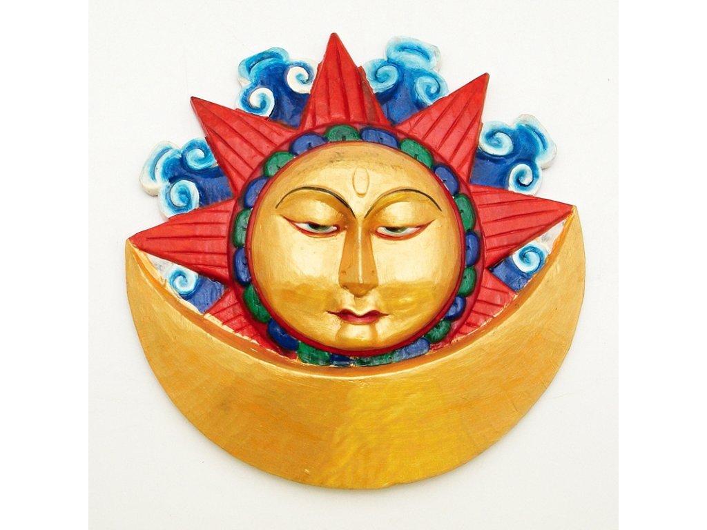 Maska dřevo Slunce a měsíc 39 cm