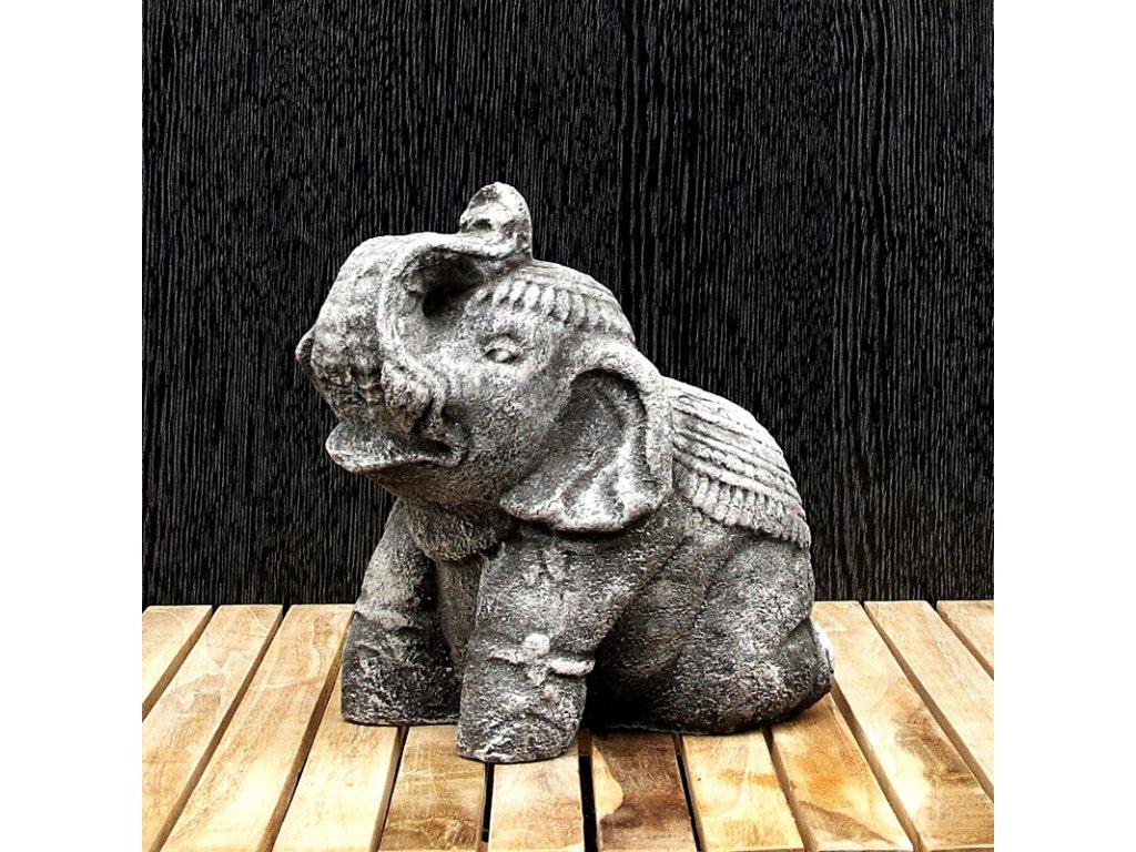 Soška kámen Slon 20 cm šedá
