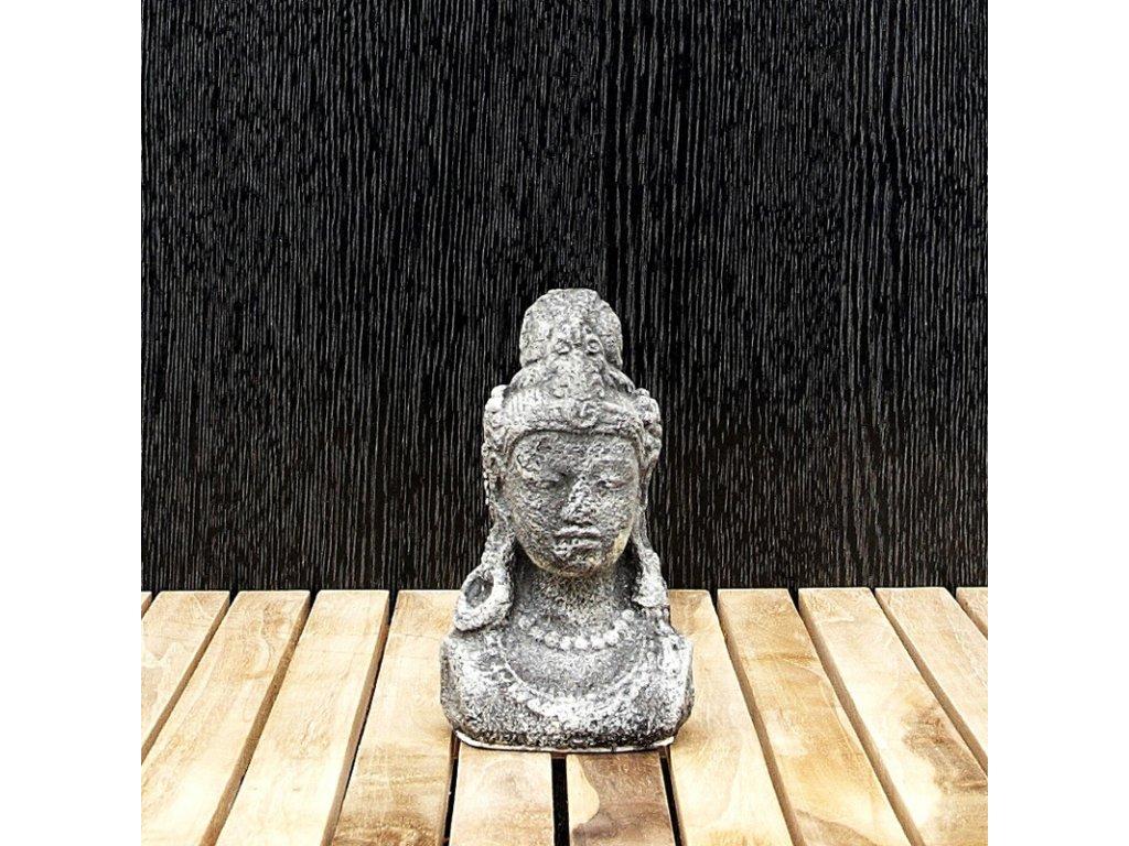 Soška kámen Shiva hlava 15 cm šedá