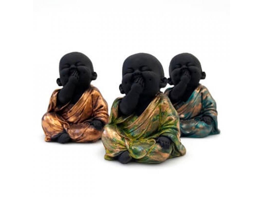 Soška resin Baby Buddha Speak no evil 14 cm mix
