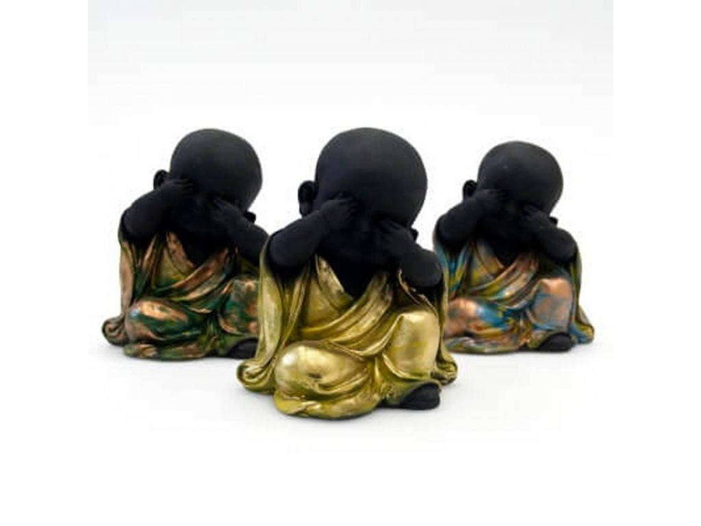 Soška resin Baby Buddha See no evil 14 cm mix