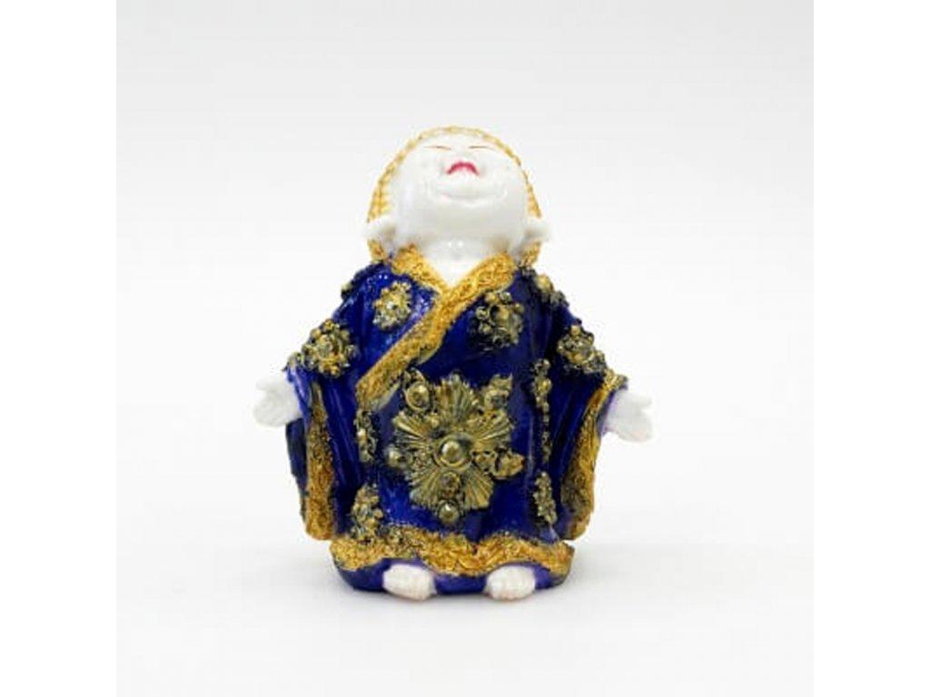 Soška resin Buddha Morning Welcome 17 cm modrá