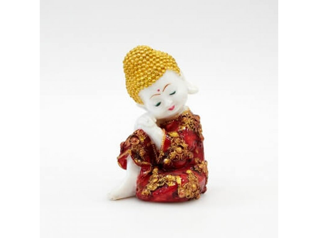 Soška resin Buddha Relaxing 19 cm červená