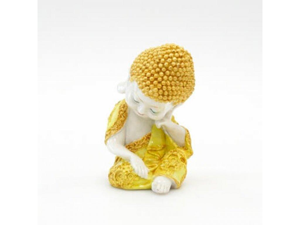 Soška resin Buddha Relaxing 17 cm žlutá