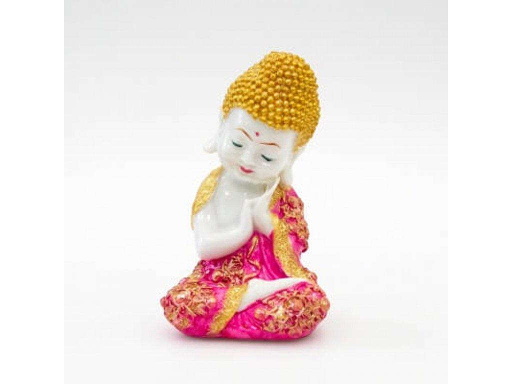Soška resin Buddha Relaxing 19 cm růžová