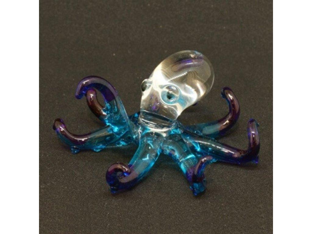 Soška sklo Octopus tyrkysová