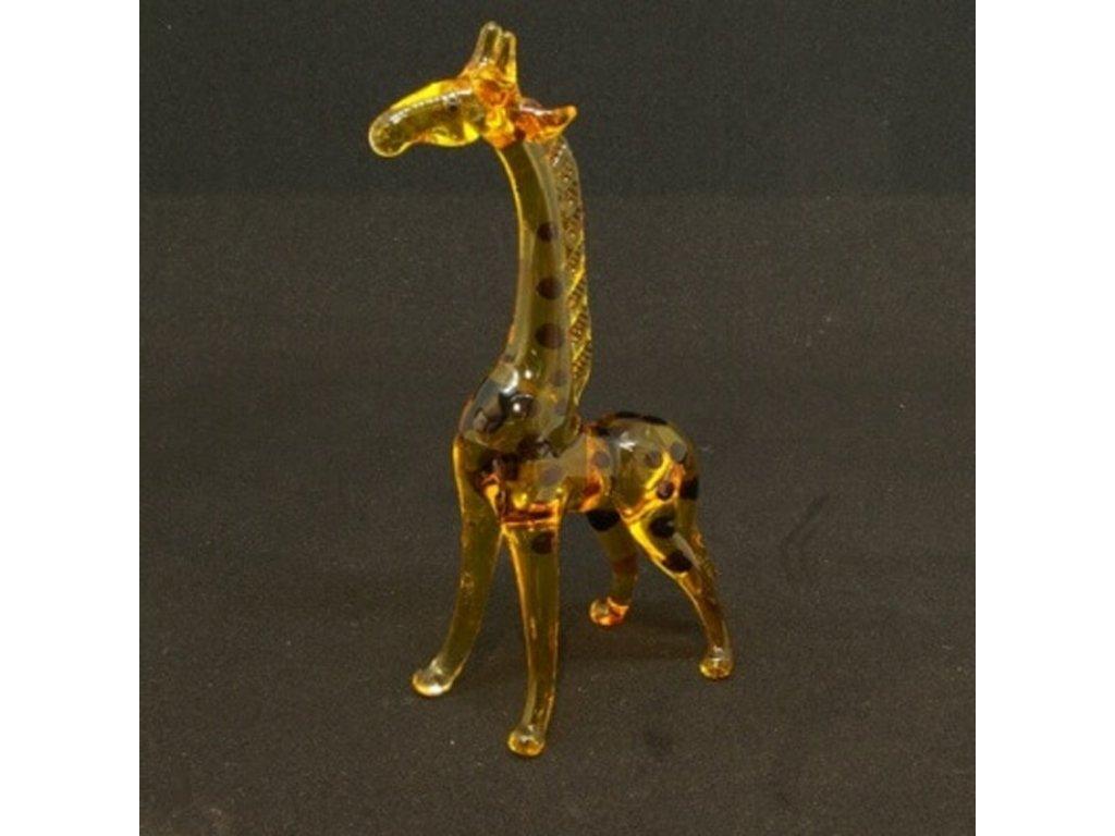 Soška sklo Giraffe žlutá